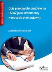 Opis przedmiotu zamówienia i SIWZ jako instrumenty w procesie przetargowym + CD