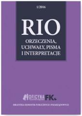 RIO Orzeczenia, uchwały, pisma i interpretacje 1/2016