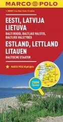 Estonia Łotwa Litwa mapa