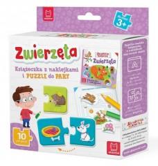 Zwierzęta Książeczka z naklejkami i puzzle do pary