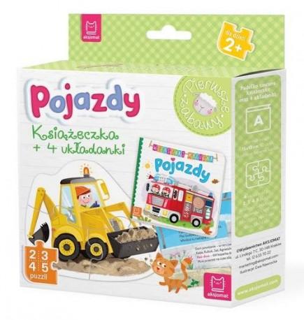 Pojazdy Książeczka i cztery układanki Puzzle dla malucha